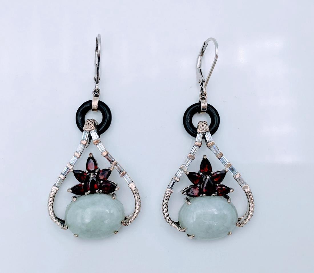 Sterling Silver Jade Garnet CZ Imperial Design Earrings