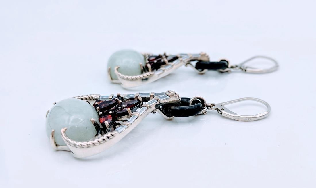 Sterling Silver Jade Garnet CZ Imperial Design Earrings - 2