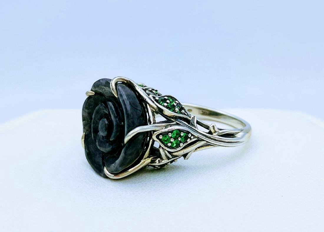 Sterling Silver Nuumite CZ Imperial Design Ring - 2