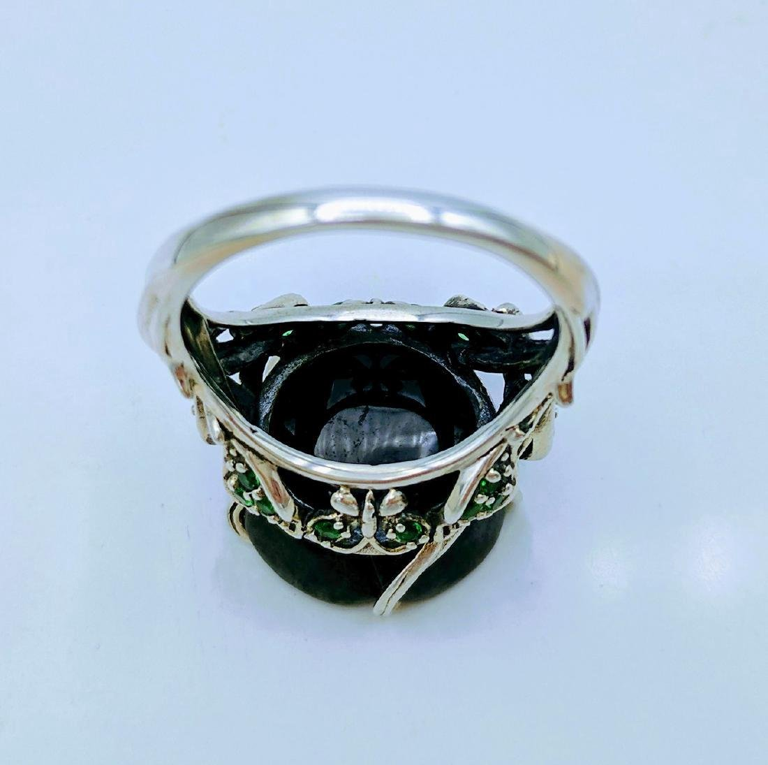 Sterling Silver Nuumite CZ Imperial Design Ring - 4