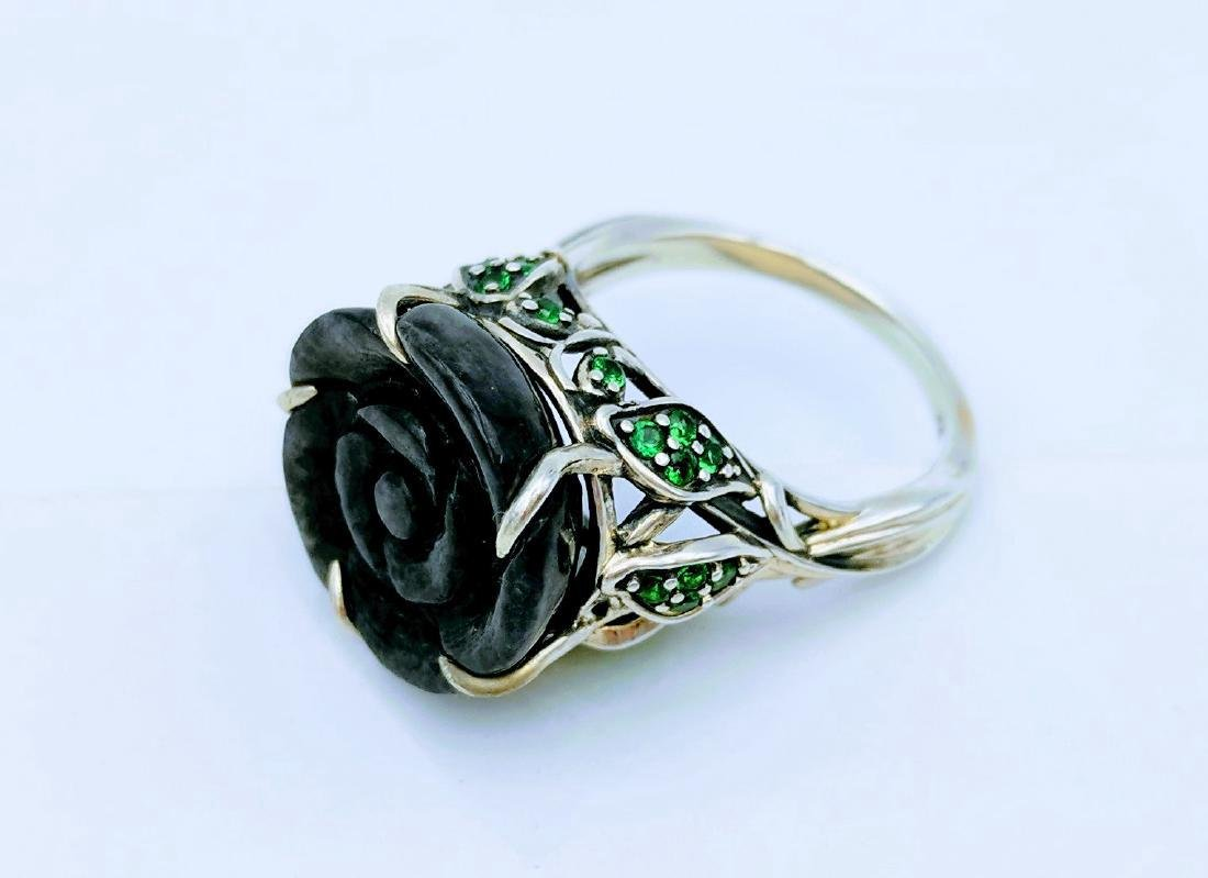 Sterling Silver Nuumite CZ Imperial Design Ring - 5