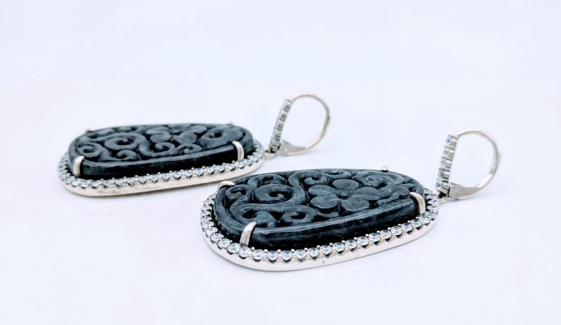 Sterling Silver Dangling Nuumite CZ Earrings, 1.68ctw - 2