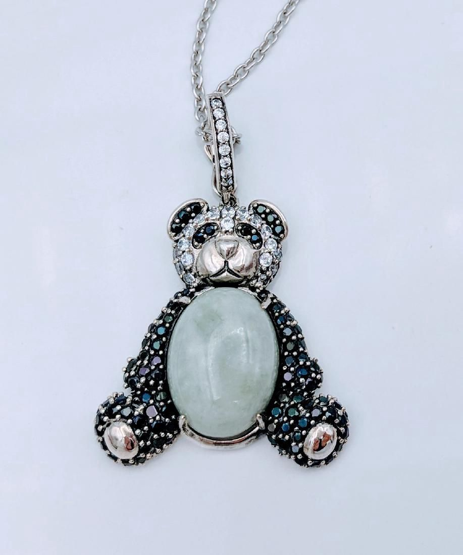 Sterling Silver Jade Onyx Figural Panda Bear Necklace
