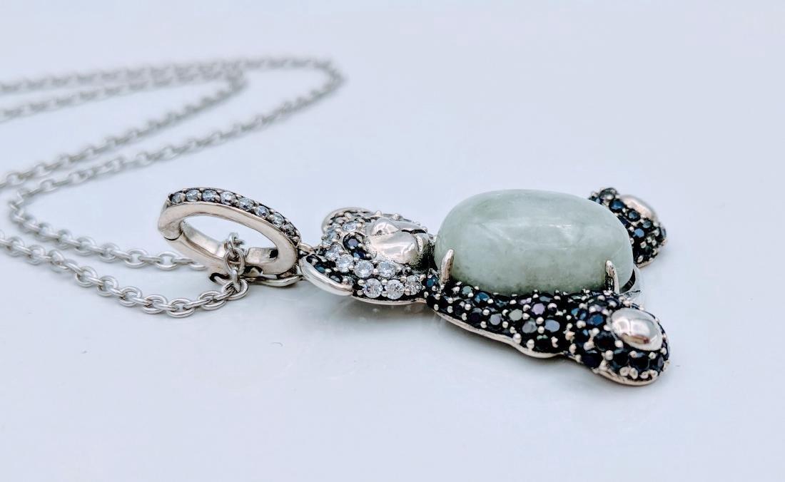 Sterling Silver Jade Onyx Figural Panda Bear Necklace - 2