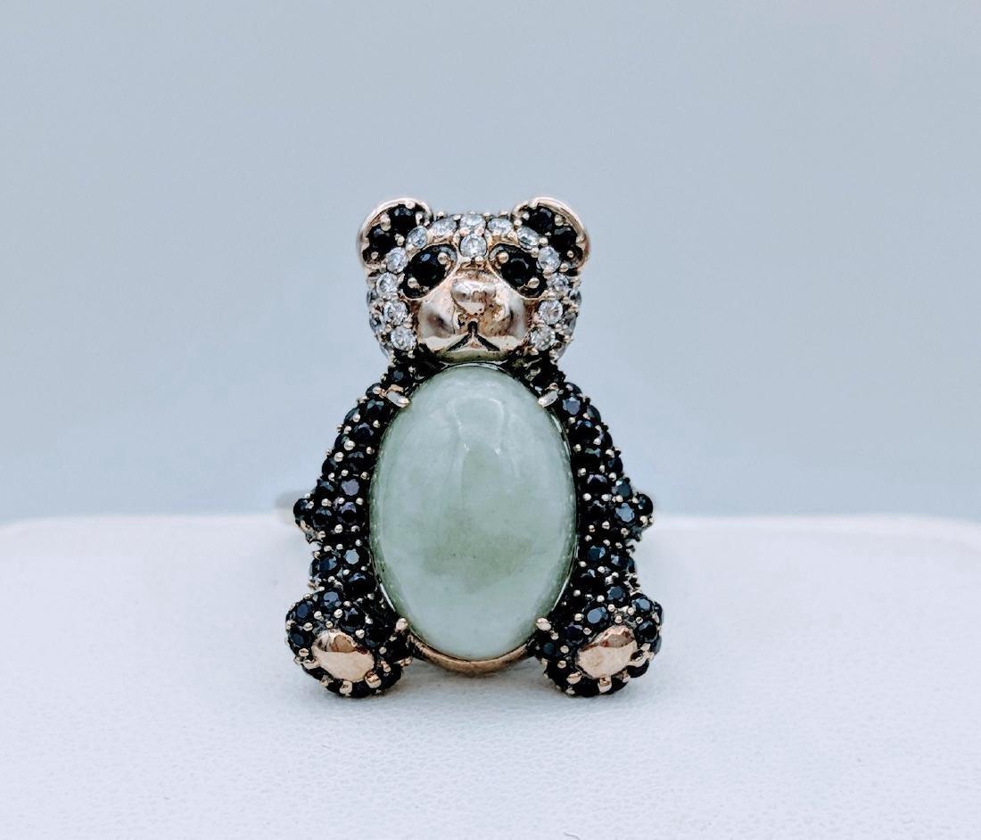 Sterling Silver Jade Onyx CZ Figural Panda Bear Ring