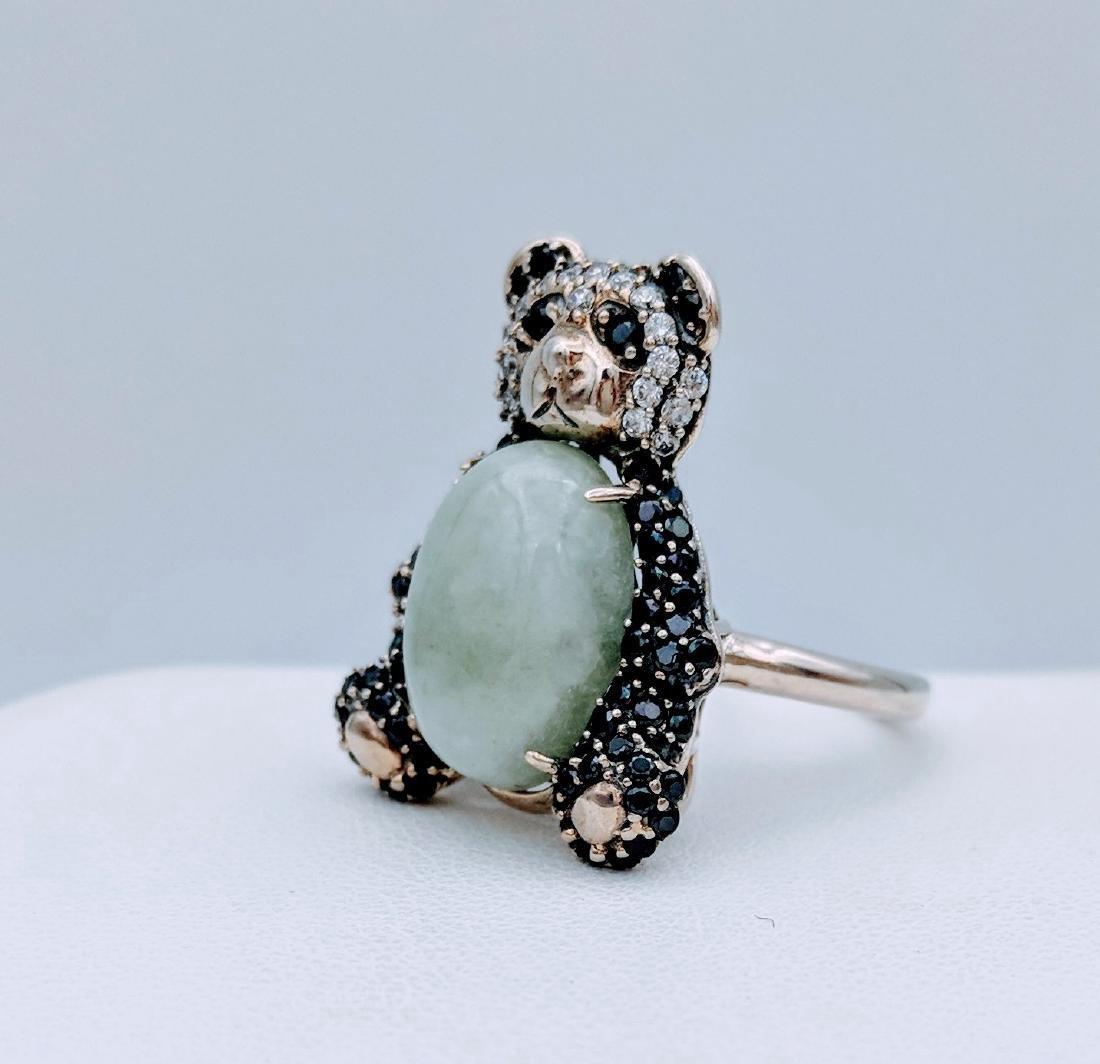 Sterling Silver Jade Onyx CZ Figural Panda Bear Ring - 2