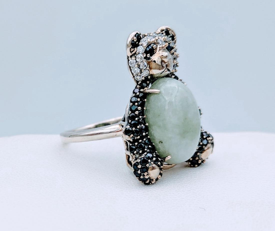 Sterling Silver Jade Onyx CZ Figural Panda Bear Ring - 3