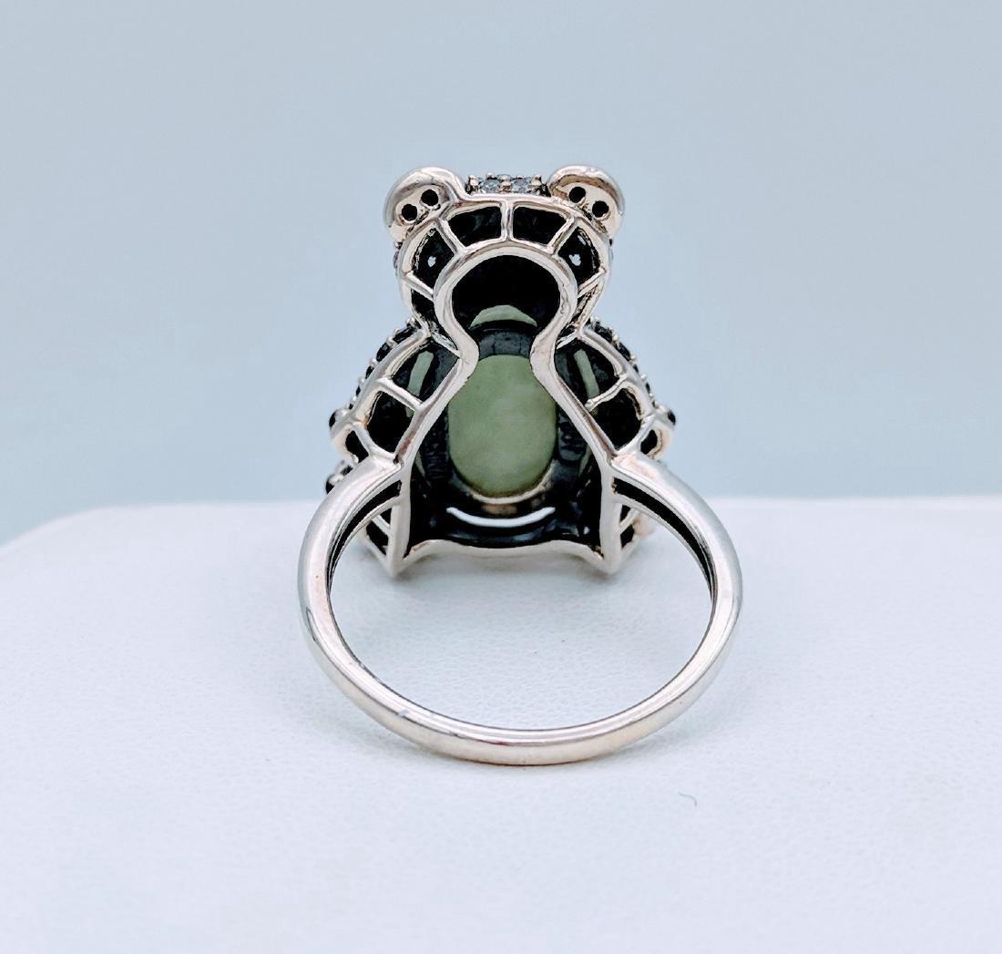 Sterling Silver Jade Onyx CZ Figural Panda Bear Ring - 4