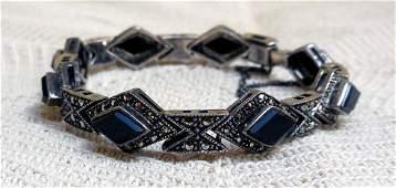 Art Deco Sterling Silver Onyx Marcasite Bracelet