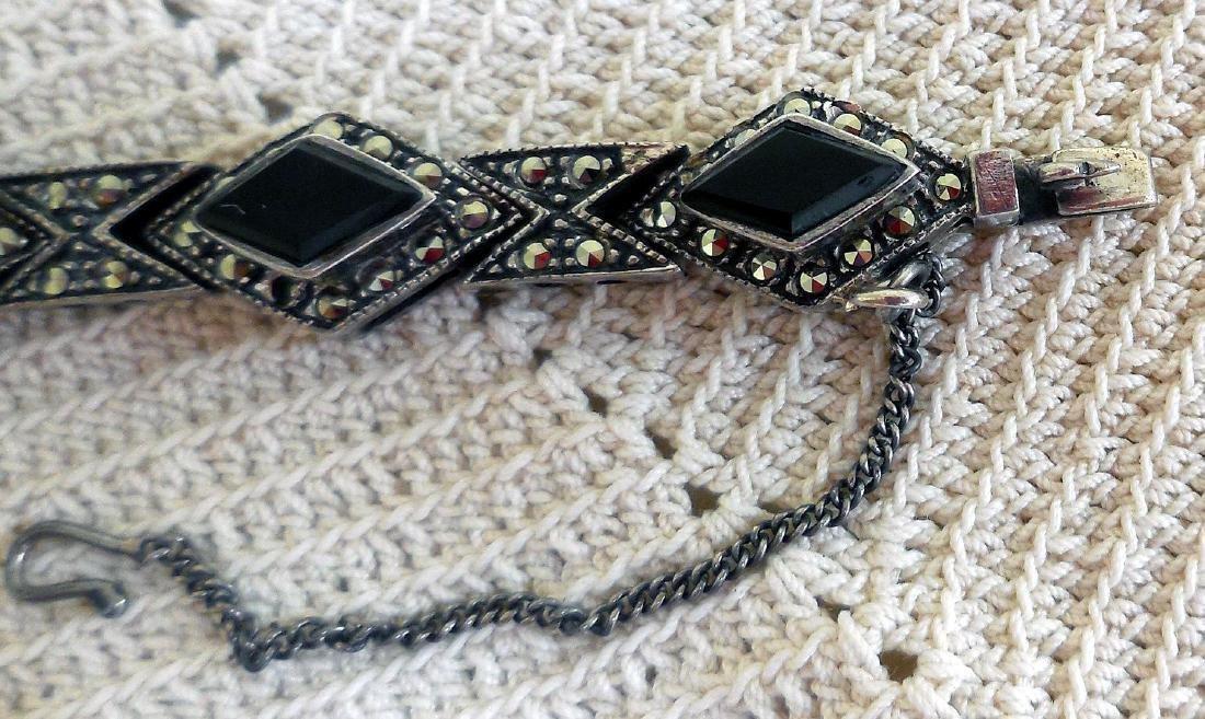 Art Deco Sterling Silver Onyx Marcasite Bracelet - 4