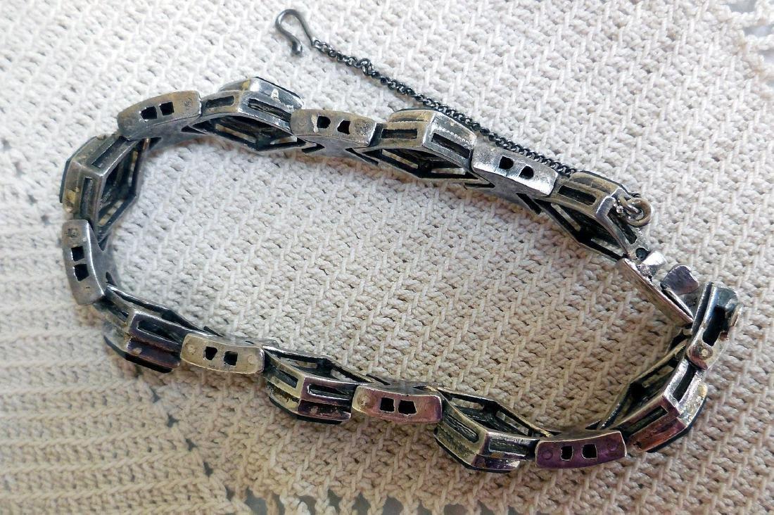 Art Deco Sterling Silver Onyx Marcasite Bracelet - 6