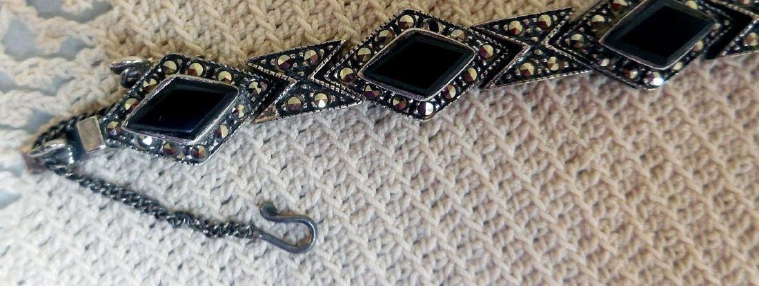 Art Deco Sterling Silver Onyx Marcasite Bracelet - 7