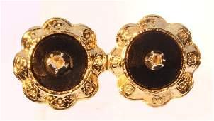 Antique 14K Yellow Gold Onyx Diamond Brooch, c1880
