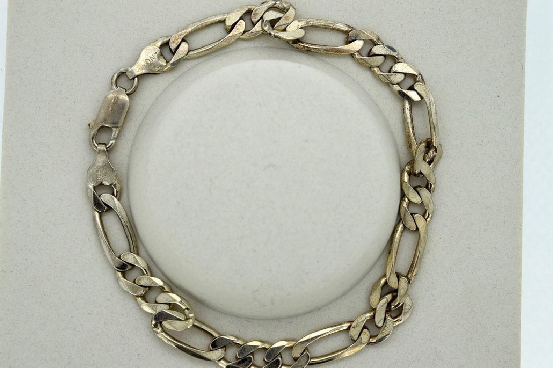 Men's Italian Sterling Silver Figaro Bracelet - 2