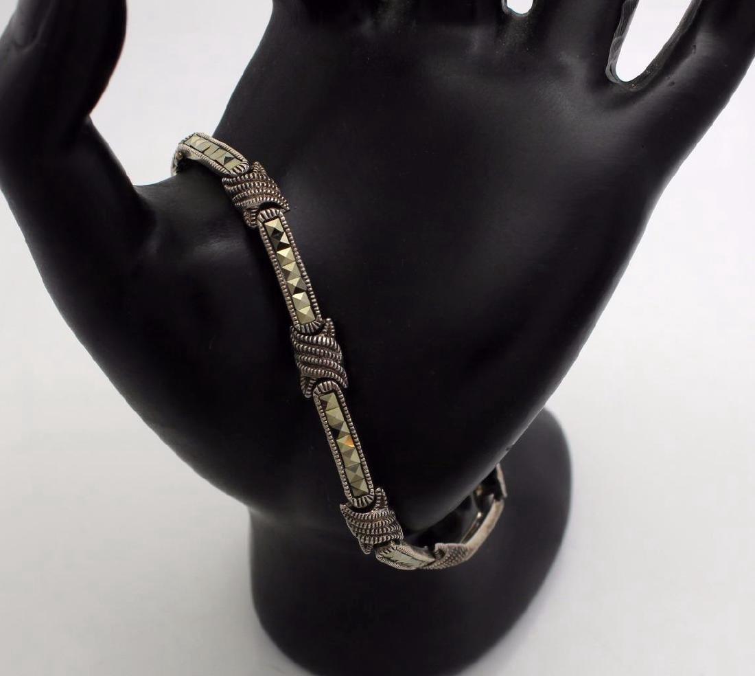 Sterling Silver Marcasite Link Bracelet