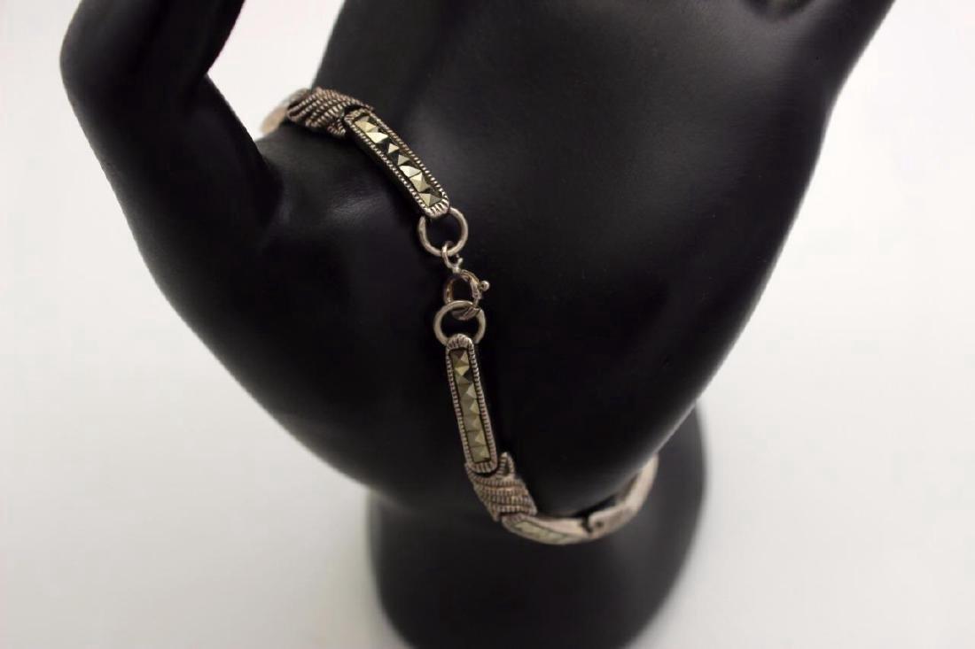 Sterling Silver Marcasite Link Bracelet - 2