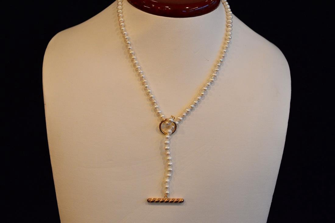 Ladies 14K Yellow Gold Pearl Lariat Necklace