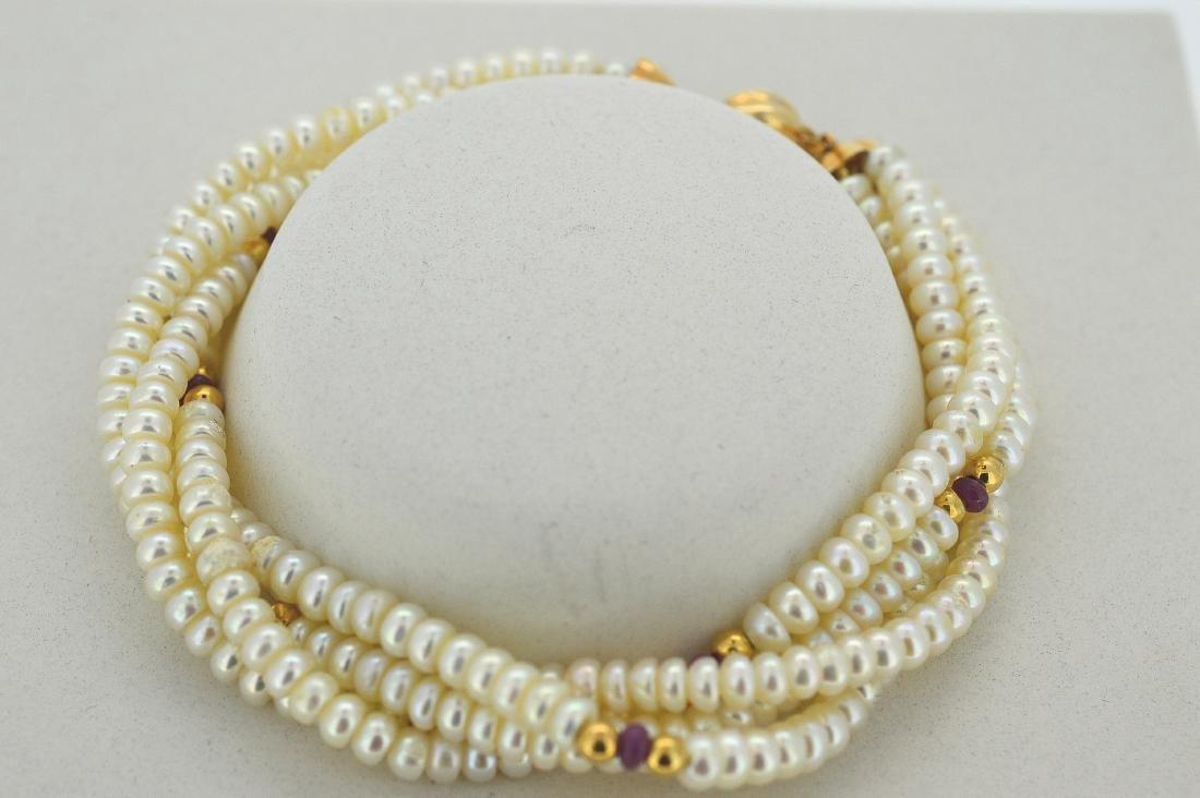 Ladies 14K Yellow Gold 4 Strand Pearl Bracelet