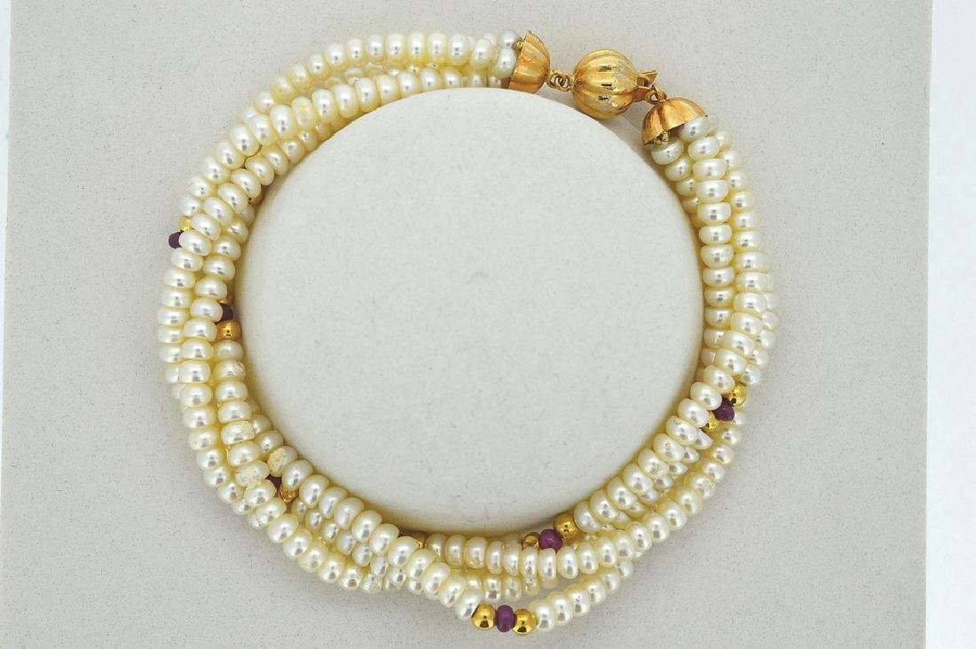 Ladies 14K Yellow Gold 4 Strand Pearl Bracelet - 2