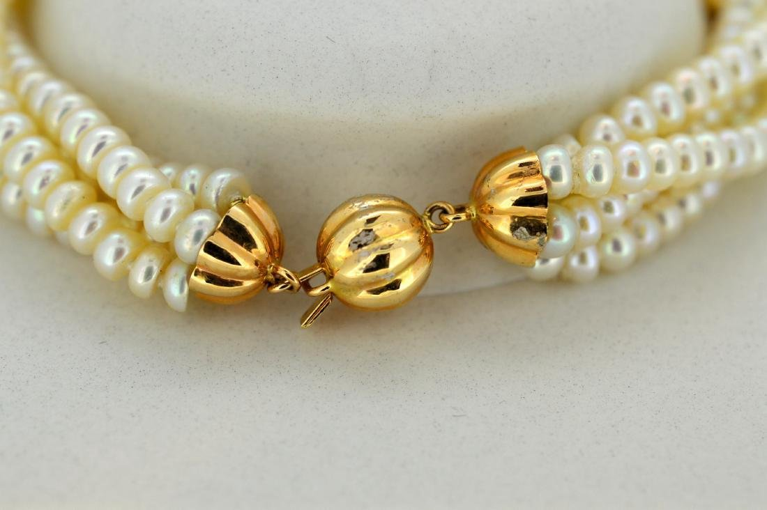 Ladies 14K Yellow Gold 4 Strand Pearl Bracelet - 3