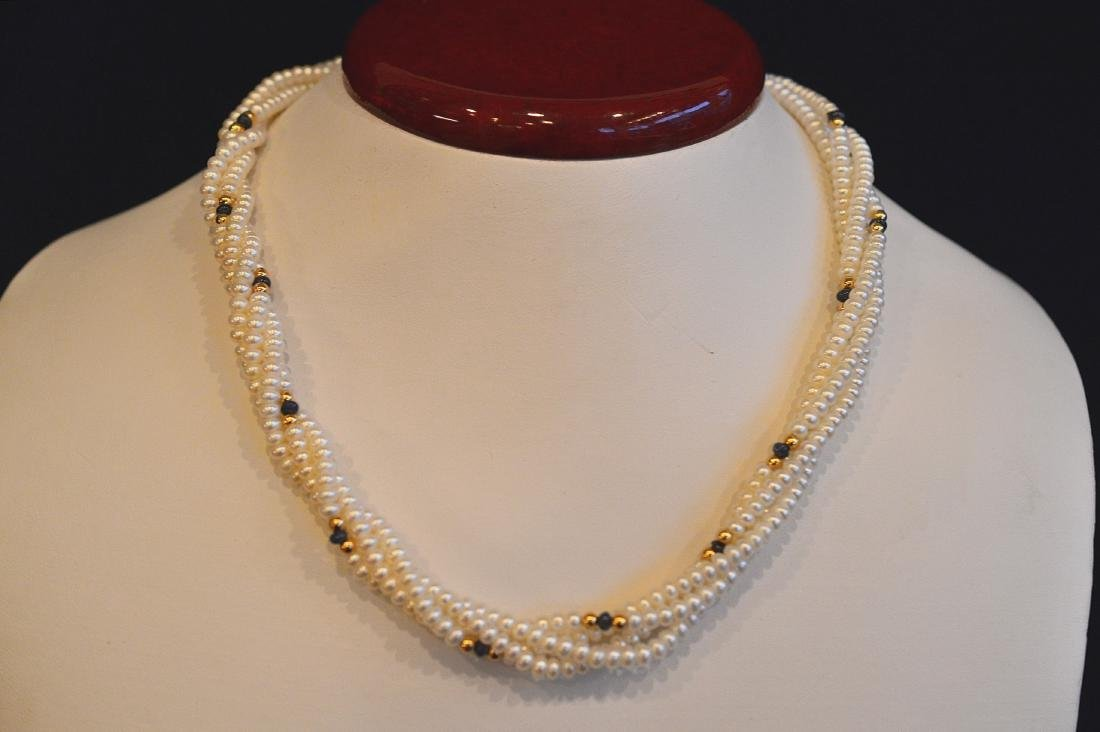 Ladies 14K Yellow Gold 4 Strand Pearl Necklace