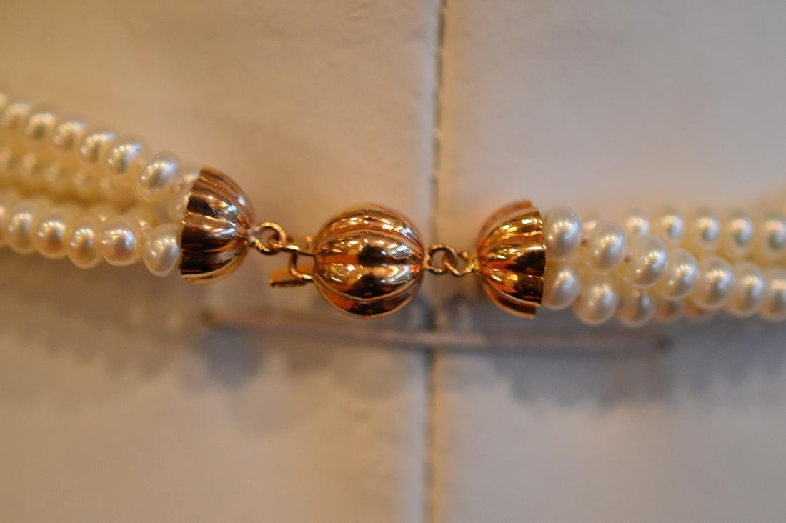 Ladies 14K Yellow Gold 4 Strand Pearl Necklace - 2