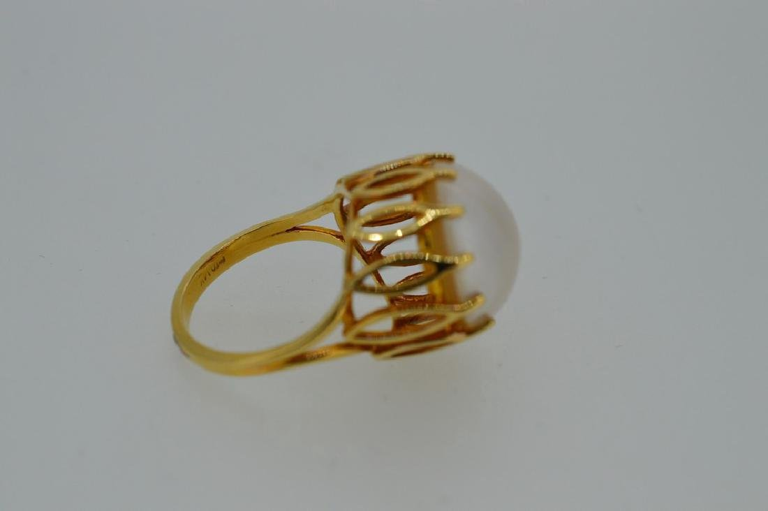 Ladies Mid-Century 14k Yellow Gold Mabe Pearl Ring - 4