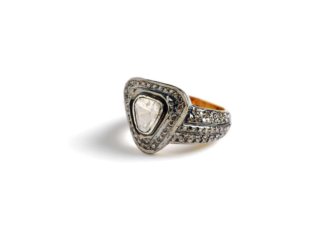 Rhodium Plated Gold Silver Diamond Ring, 1.19ctw