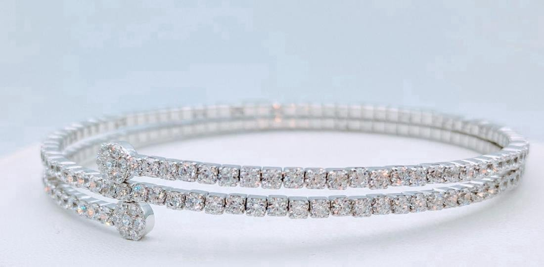 Sterling Silver CZ Wrap Around Arm Bracelet, 10.45ctw - 2
