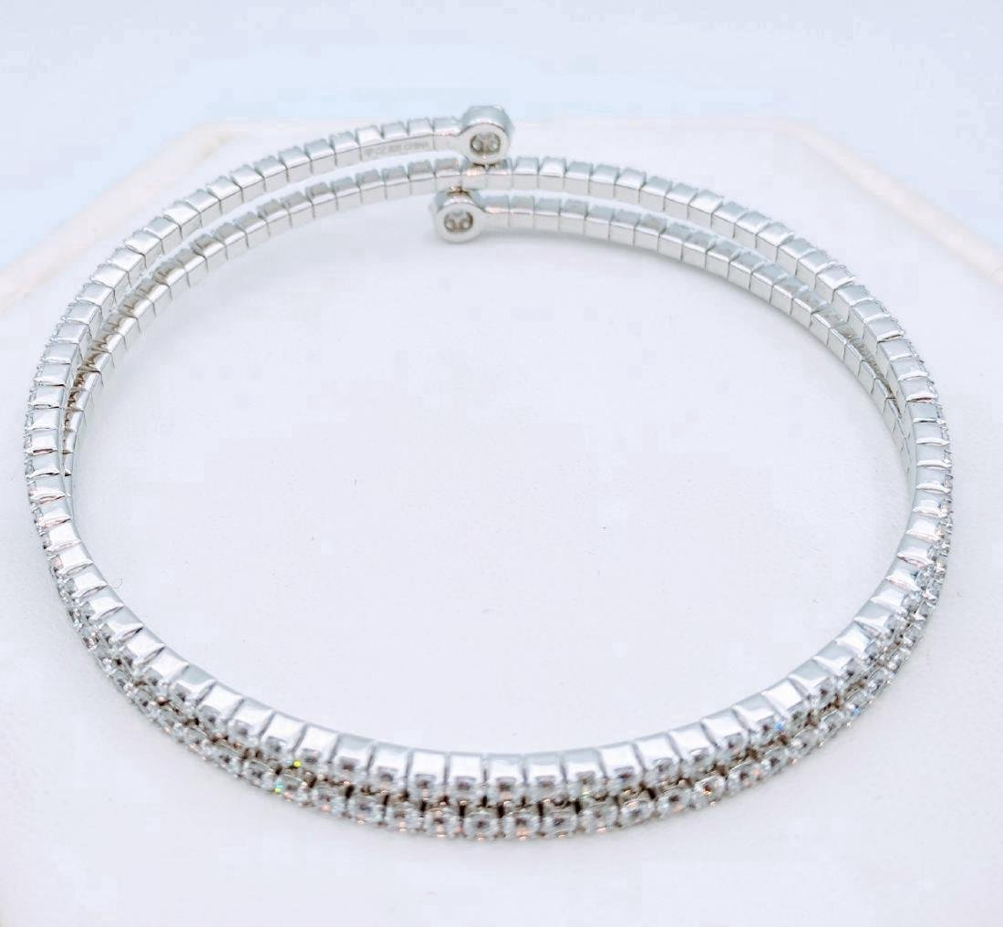 Sterling Silver CZ Wrap Around Arm Bracelet, 10.45ctw - 3
