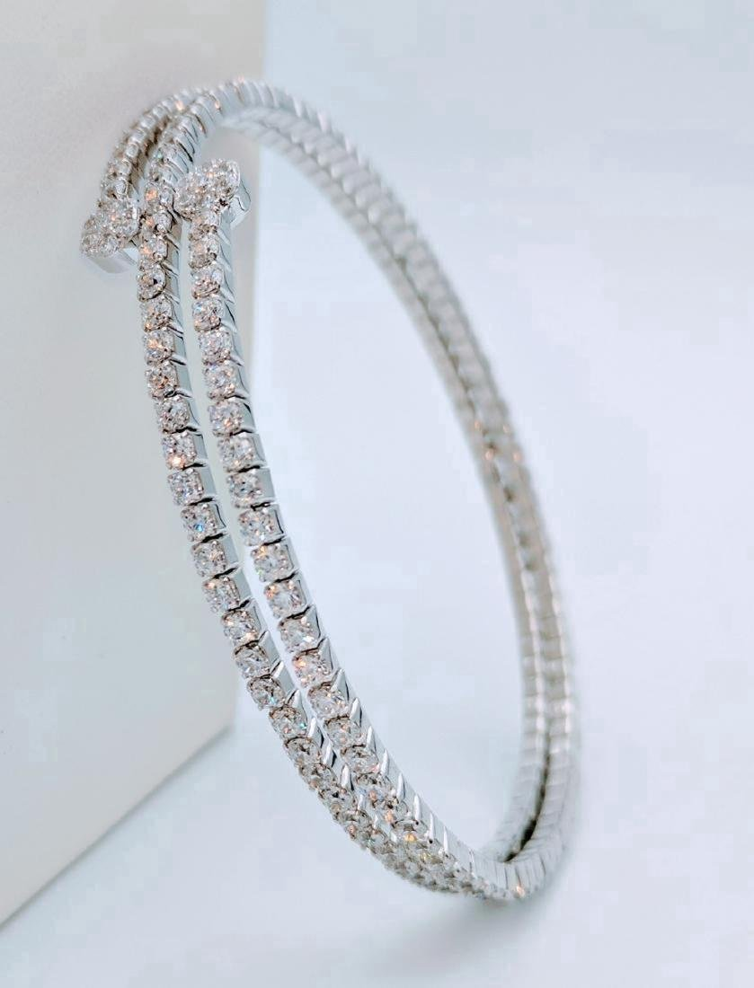 Sterling Silver CZ Wrap Around Arm Bracelet, 10.45ctw - 5