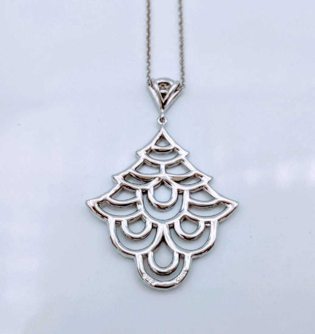Sterling Silver Cubic Zirconia Christmas Tree Necklace - 3