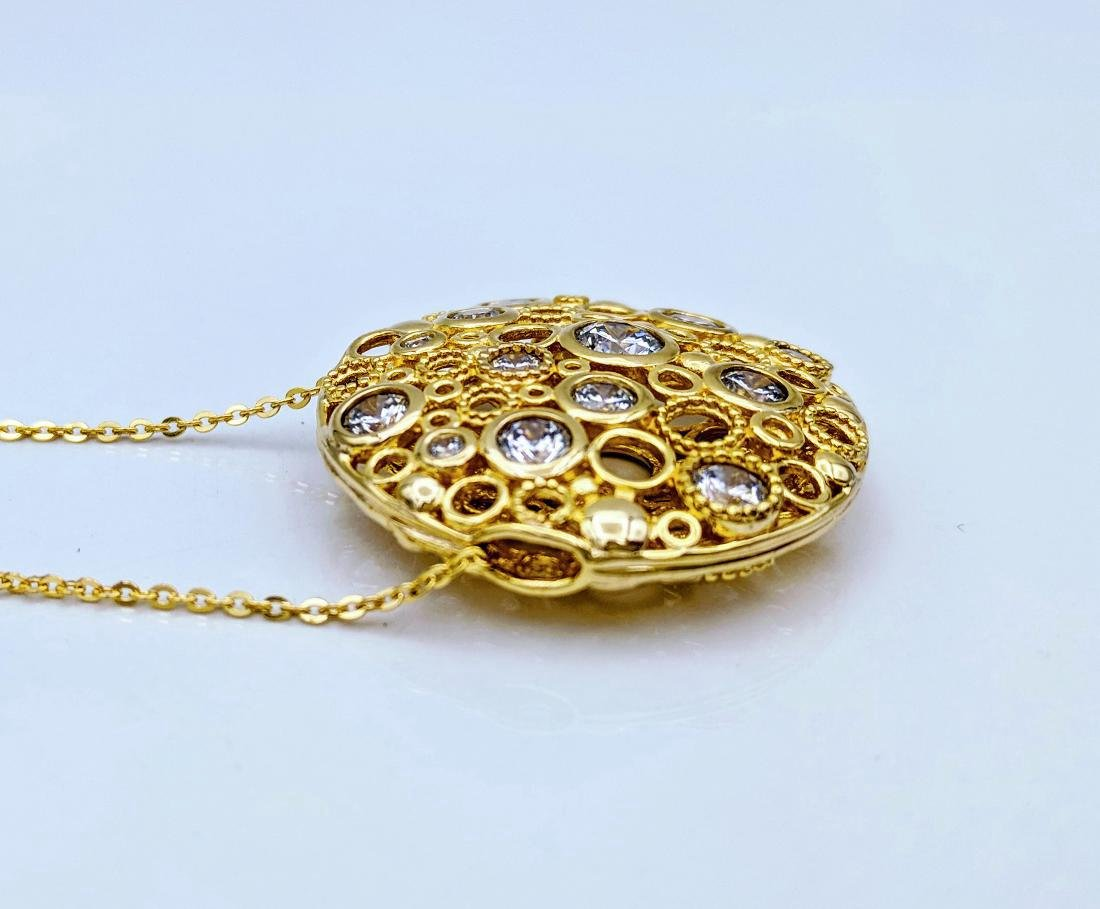 Gold Plated Sterling Silver Cubic Zirconia Necklace