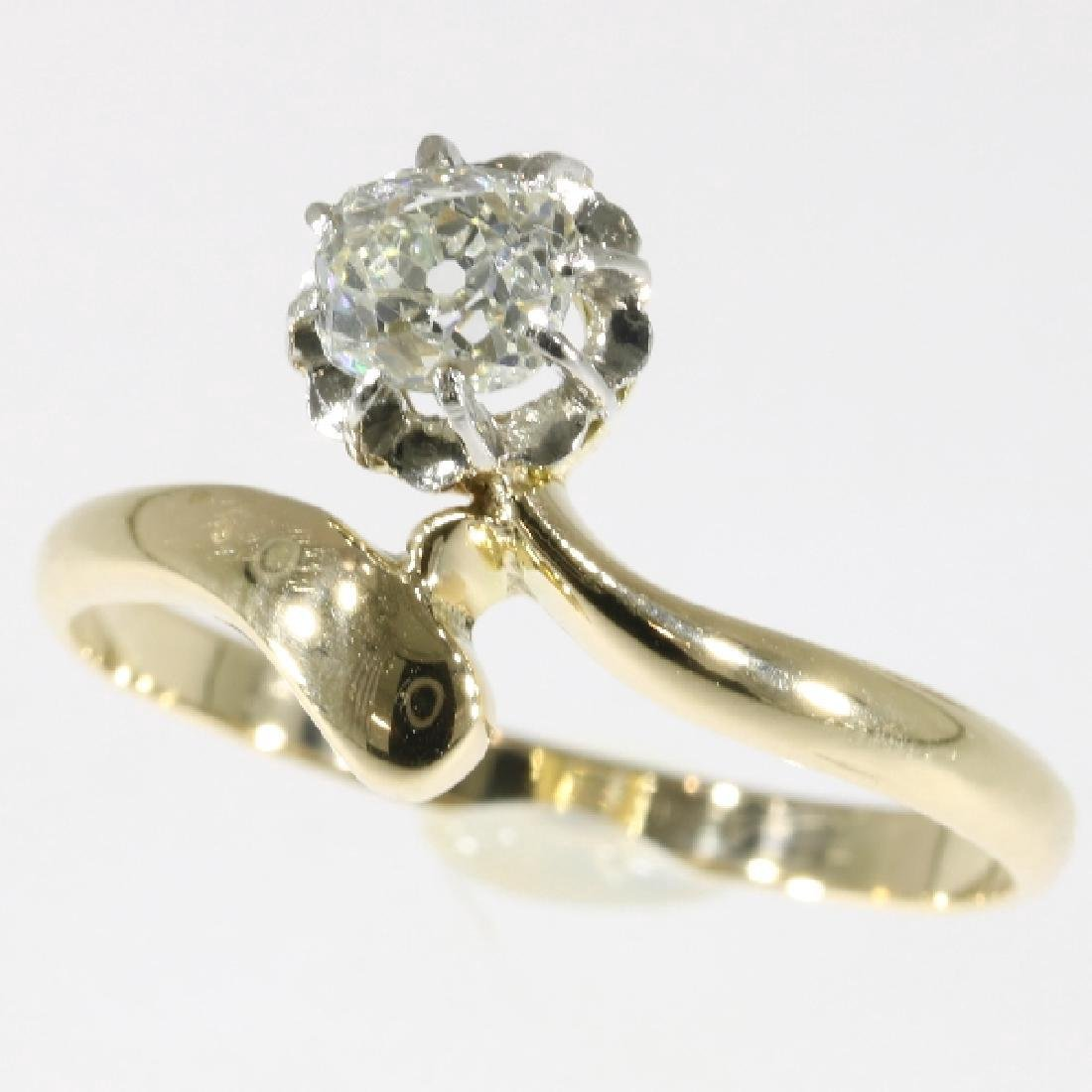 Antique Belle Epoque 14K Gold Diamond Ring, .4ct