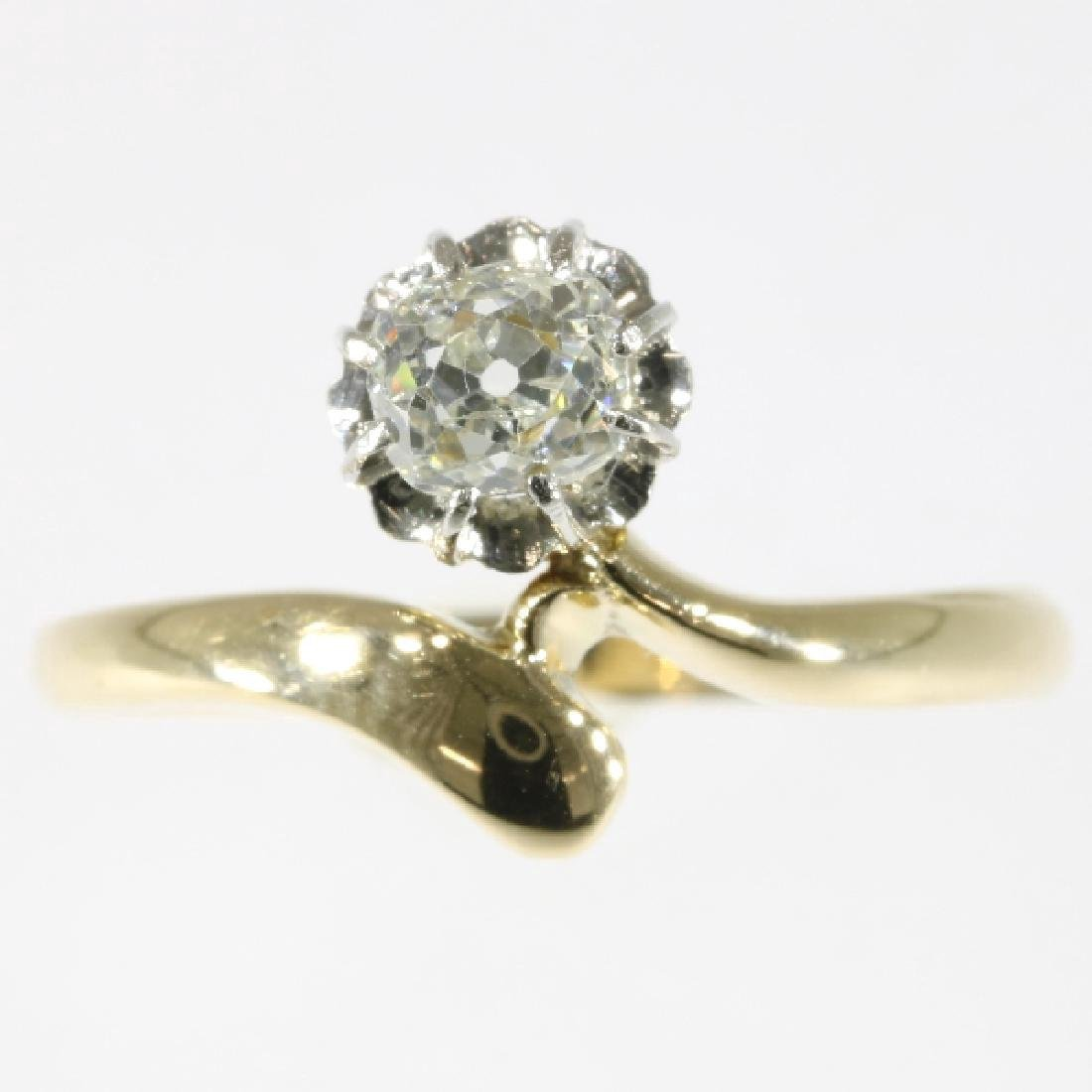 Antique Belle Epoque 14K Gold Diamond Ring, .4ct - 2
