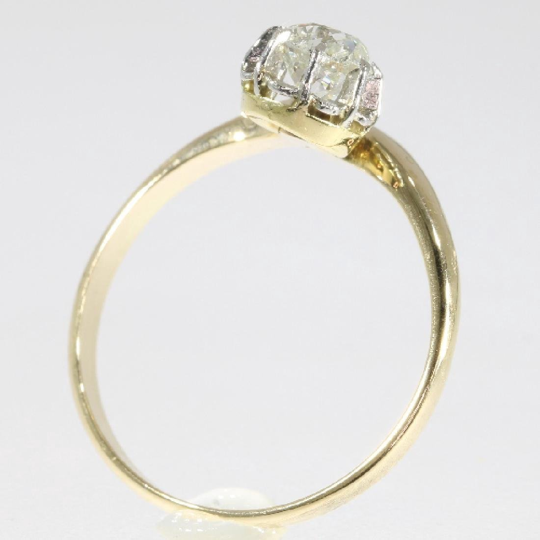 Antique Belle Epoque 14K Gold Diamond Ring, .4ct - 3