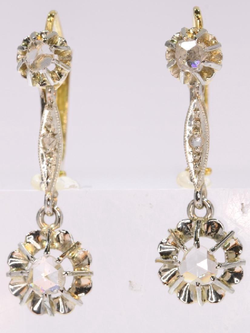 Antique Art Deco 18K Gold Diamond Earrings, c1920