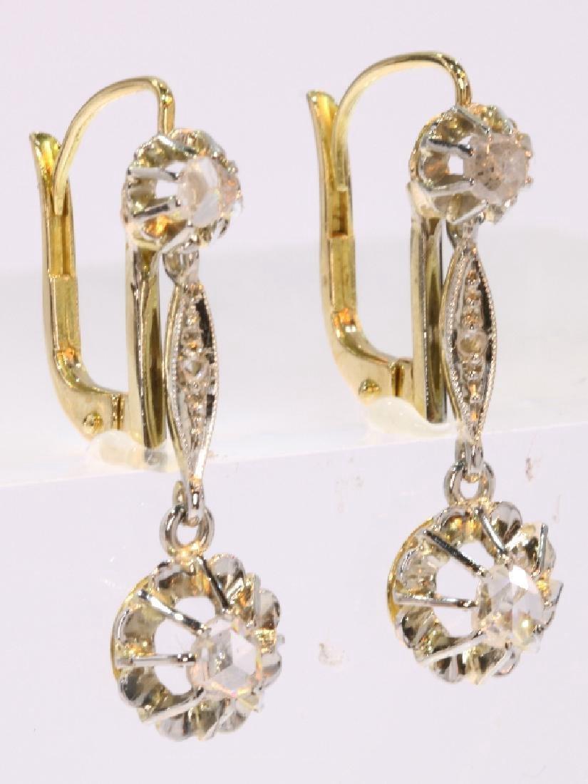 Antique Art Deco 18K Gold Diamond Earrings, c1920 - 2