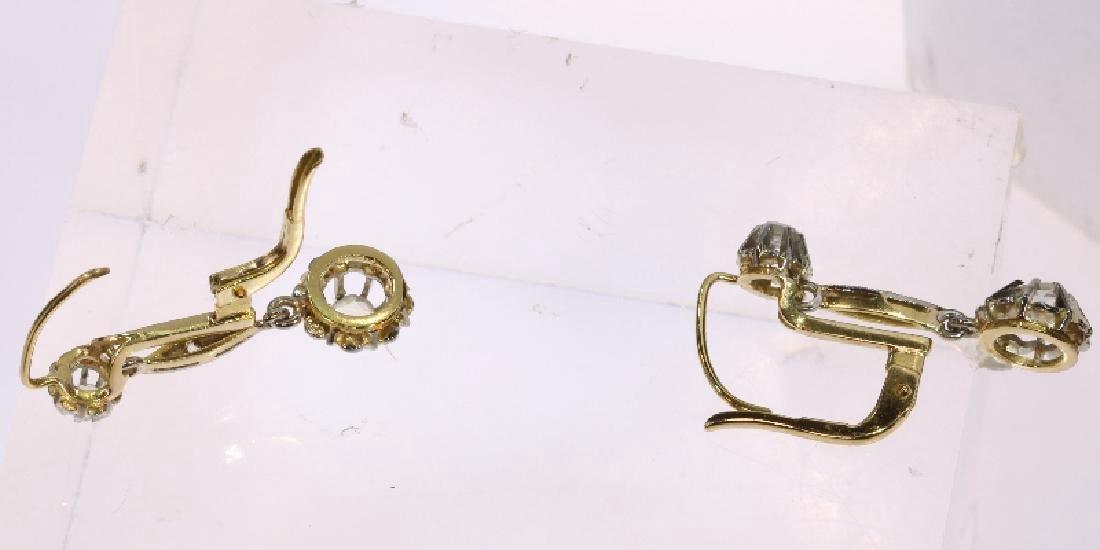 Antique Art Deco 18K Gold Diamond Earrings, c1920 - 3