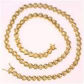 Retro 18K Yellow Gold Diamond Heart Necklace, 4.20ctw