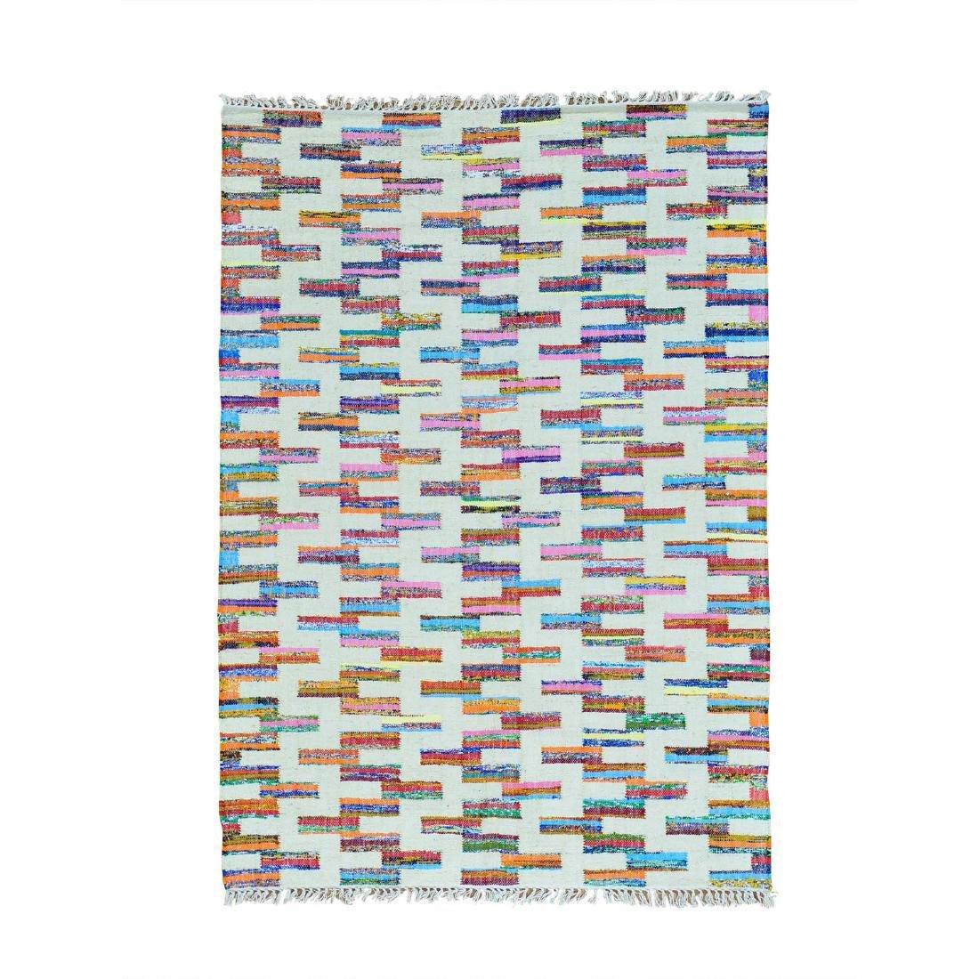 Cotton Sari Silk Flat Weave Kilim Hand Woven Rug 5x7.1