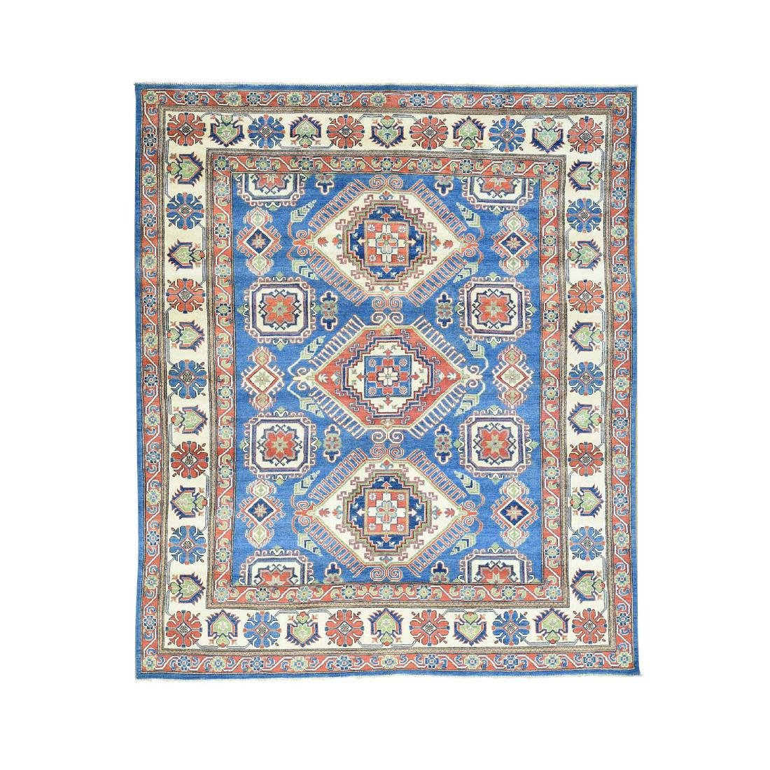 Hand-Knotted Tribal Design Kazak Pure Wool Rug 8.5x10