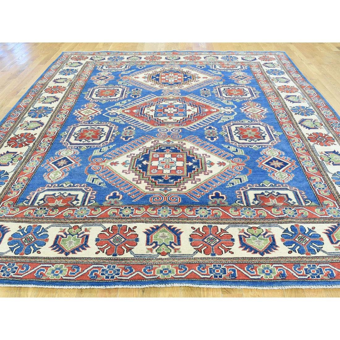 Hand-Knotted Tribal Design Kazak Pure Wool Rug 8.5x10 - 2