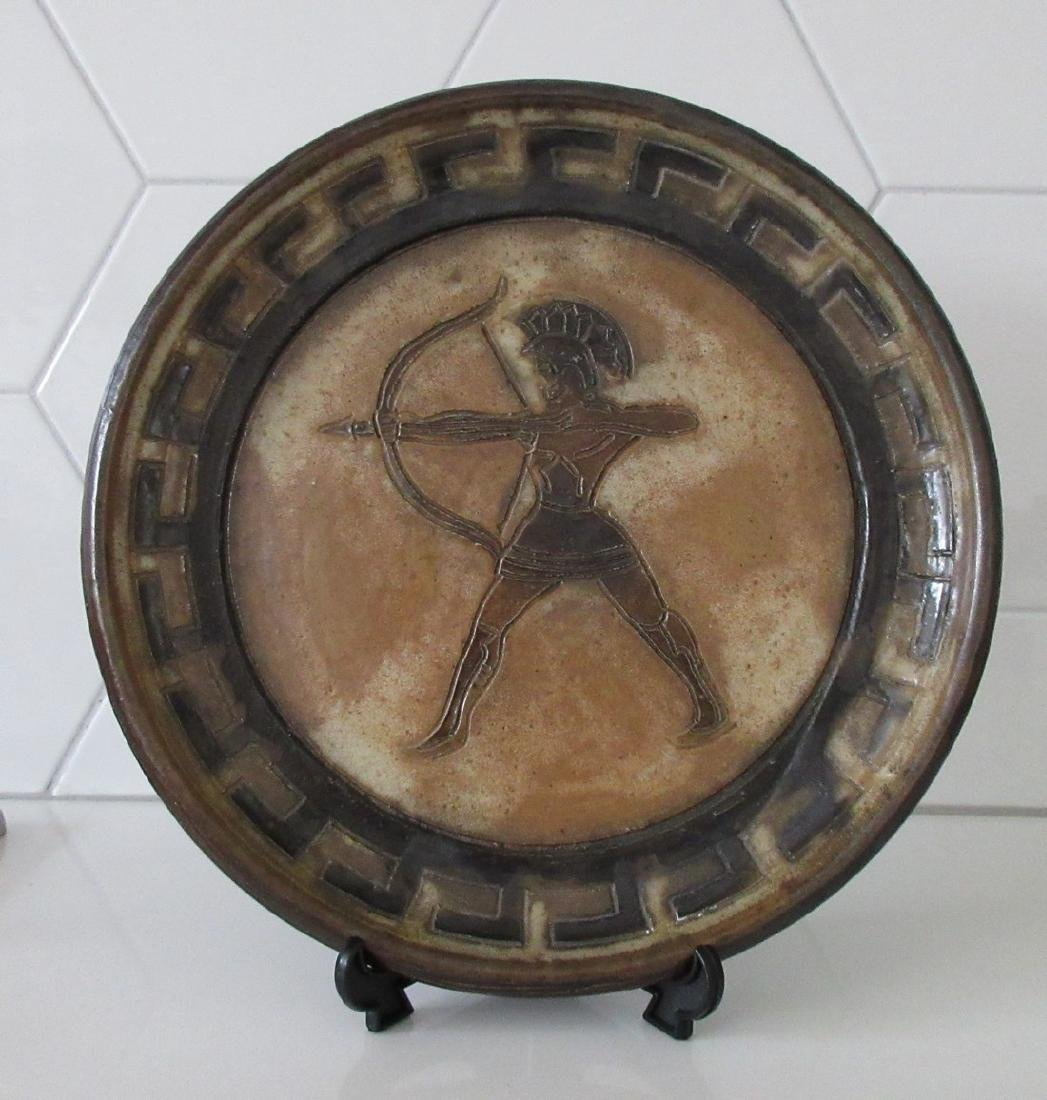 Roger Guerin Art Deco Ceramic Plate w/ Greek Archer