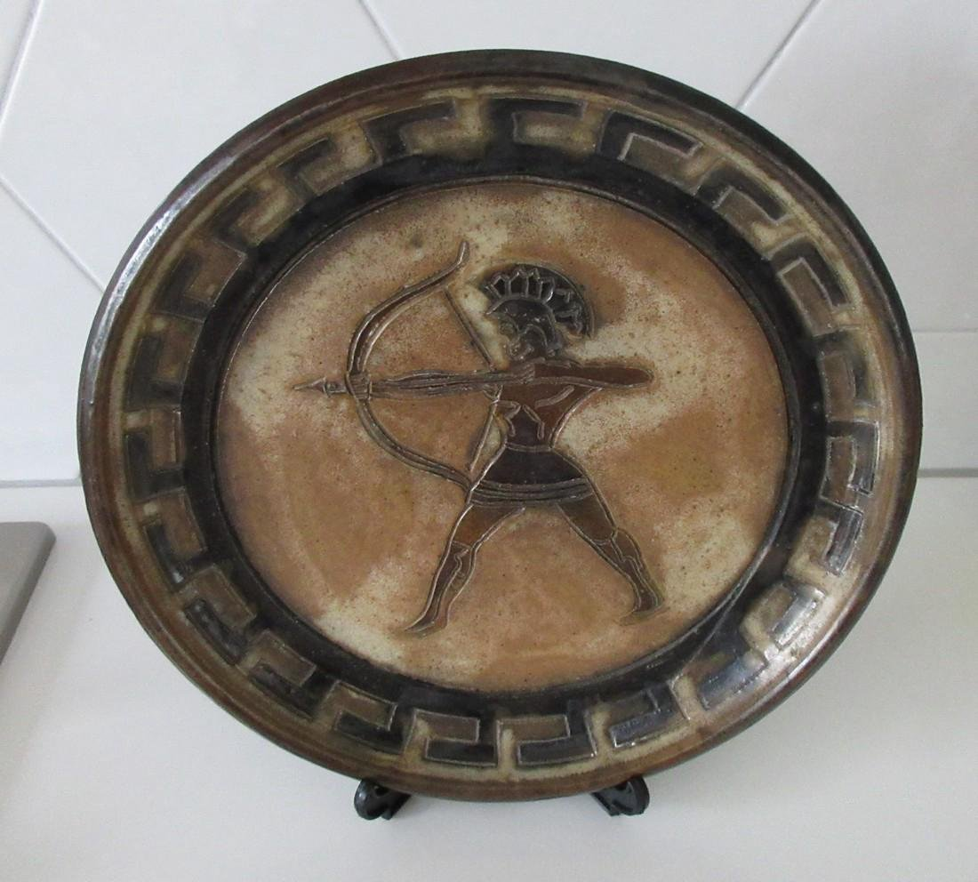 Roger Guerin Art Deco Ceramic Plate w/ Greek Archer - 2