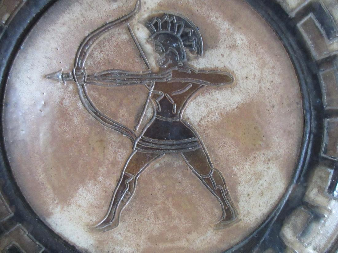 Roger Guerin Art Deco Ceramic Plate w/ Greek Archer - 3