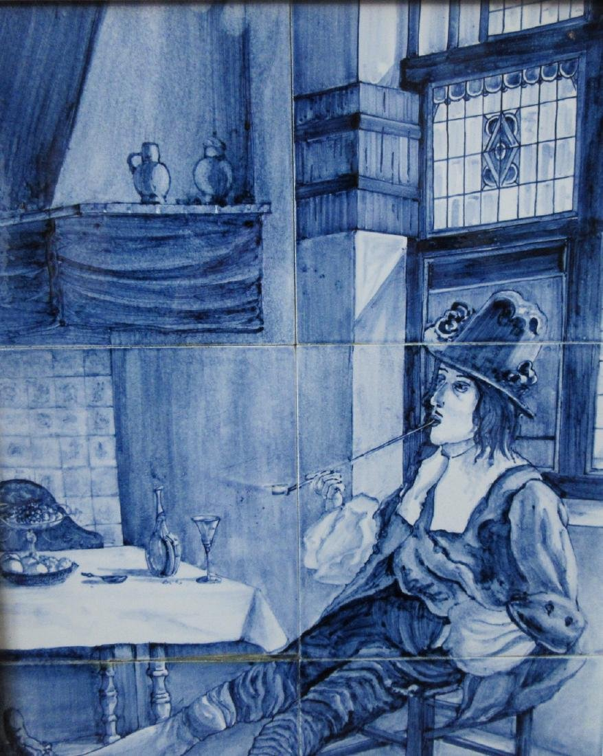 Delftware Ceramic Tile Painting, J. Mourik - 3