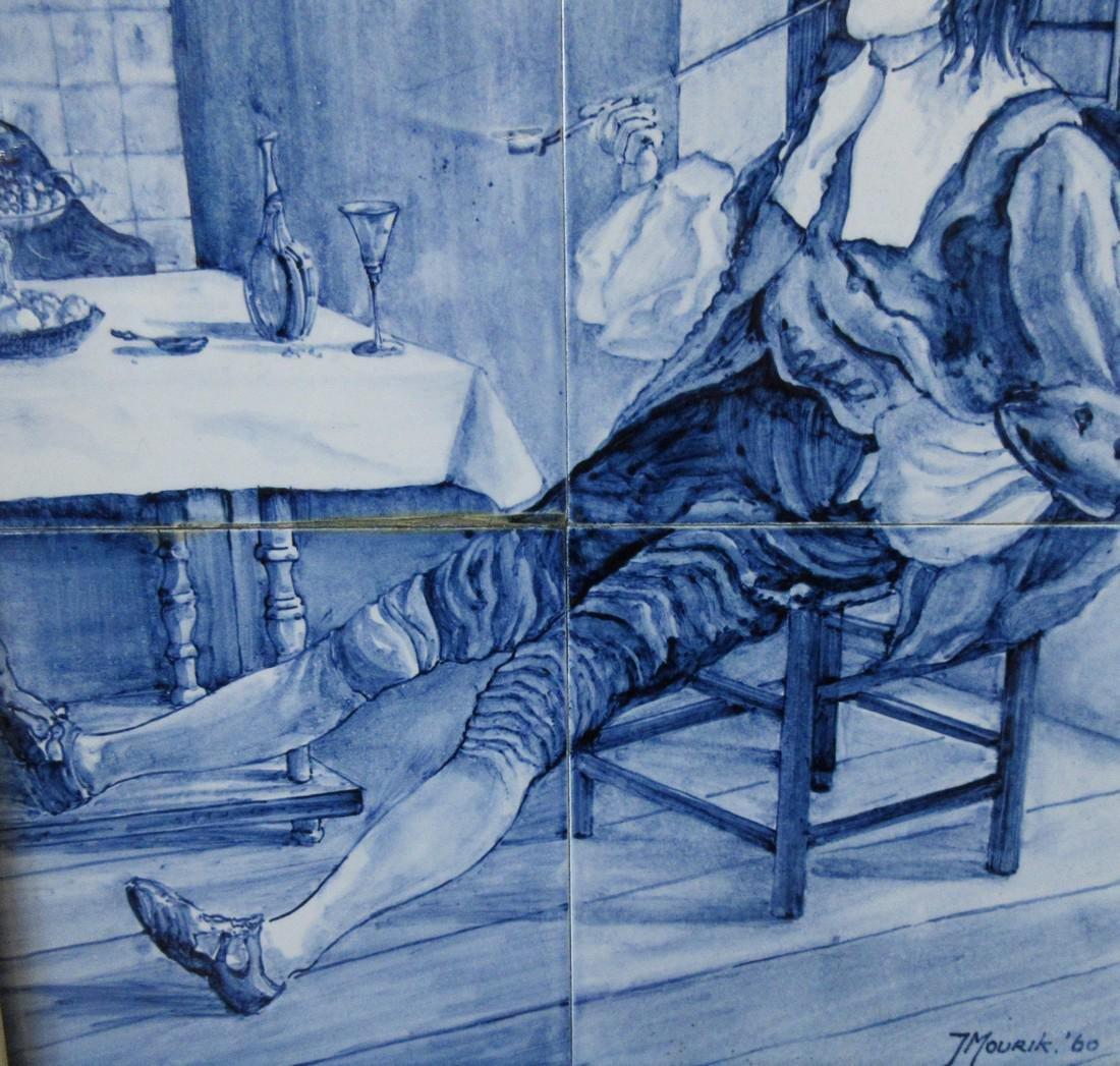 Delftware Ceramic Tile Painting, J. Mourik - 4