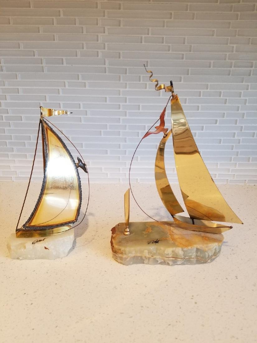 2 Two Curtis Jere Signed Sailboats