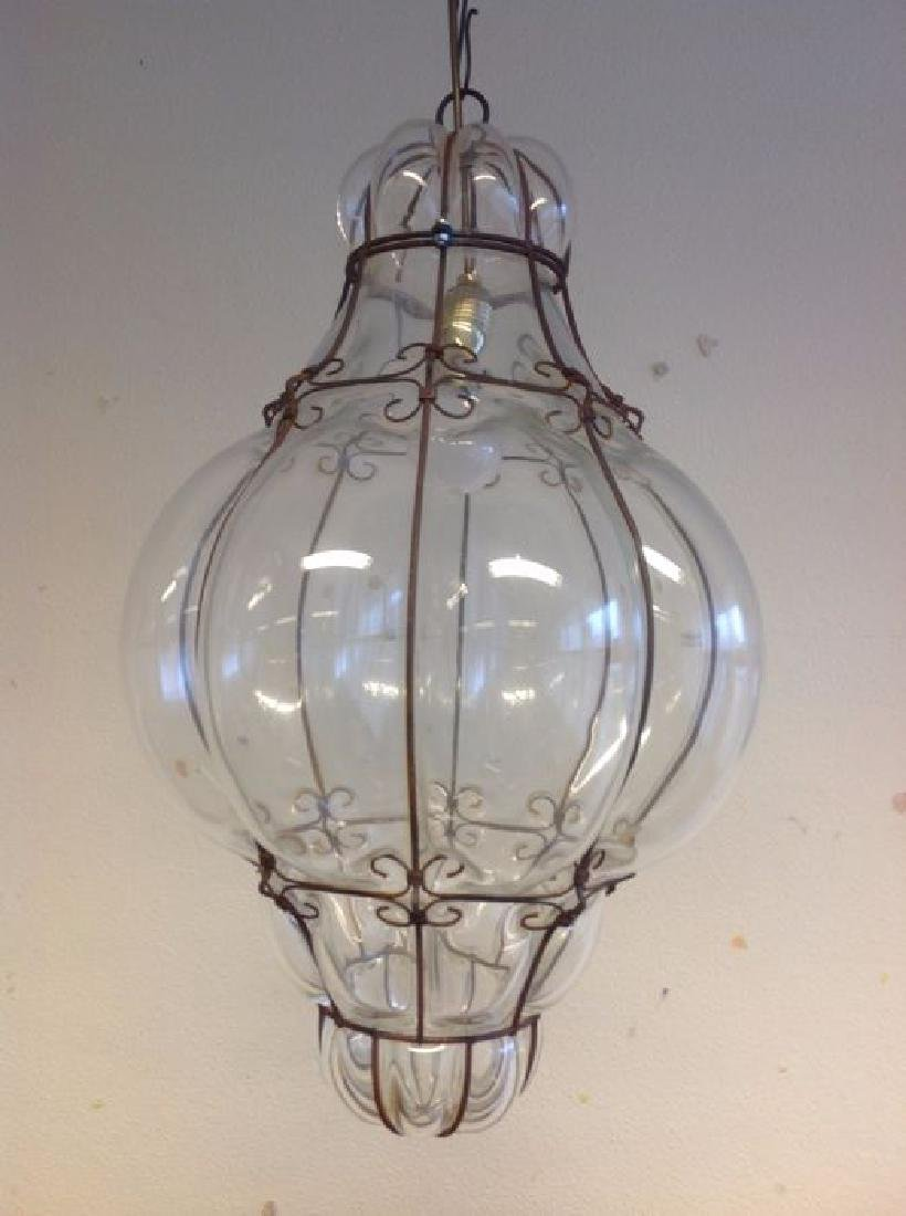 Large Murano Glass Caged Lantern